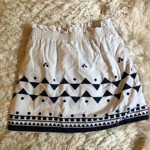 J.Crew skirt white navy women's Sz 8 elastic waist